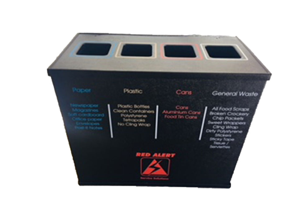 4 compartment Leather-Touch Recycling Bin